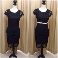 Black lace, cap sleeve cocktail dress - in stock