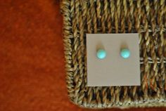 Handmade earrings 9mm turquoise cabochon on by ATouchOfJewels, $16.50