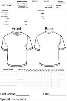 Awesome Tshirt Order Form Template Free Images Projects To Try - Free invoice template for word 2010 dress stores online