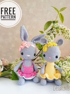 FREE amigurumi bunny and mouse pattern : FREE crochet bunny and mouse pattern These little bunny and mouse amigurumi are loving the spring weather to wear bright dresses. Crochet your own cute toys with this FREE amigurumi pattern. Crochet Bunny Pattern, Crochet Dolls Free Patterns, Crochet Mouse, Crochet Gifts, Free Crochet, Doll Patterns, Amigurumi Doll Pattern, Tsumtsum, Fabric Dolls