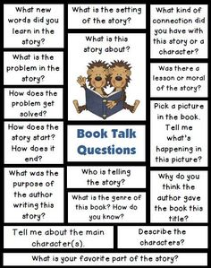 Book Talk Questions to ask students about their reading. Send these home for parents to help their child to get talking about books. Use these at small reading groups or with partner readers.