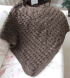 Cocoa tweed crocheted poncho