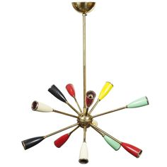 Vintage Multi Colored Sputnik Chandelier Attributed To Stilnova