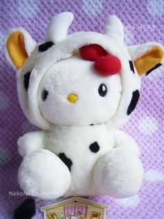 HELLO KITTY Sanrio Japan Animal Kigurumi Cow Plush Stuffed Doll 1999 NWT