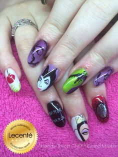 Handpainted disney villain nails using CND Shellac & Lecenté D2 brush, glitter & oil slick foil :)