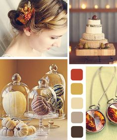 Fall Wedding idea - gourds under glass table decor