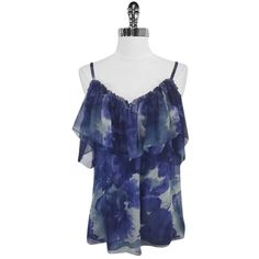 Pre-owned Rebecca Taylor - Blue Watercolor Print Silk Ruffled Sz 8 Top ($83) ❤ liked on Polyvore