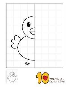 Symmetry Worksheets, Symmetry Activities, Art Worksheets, Worksheets For Kids, Kindergarten Drawing, Kindergarten Math Worksheets, Preschool Learning Activities, Preschool Crafts, Drawing Lessons For Kids