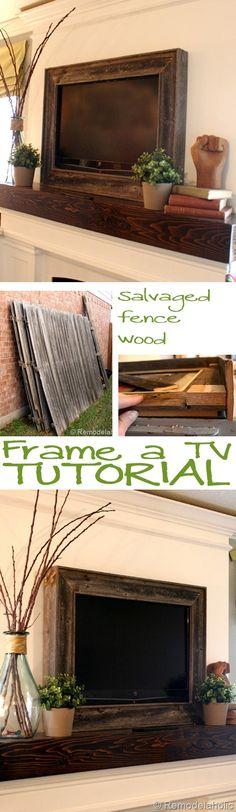 Frame a TV tutorial Remodelaholic .com - DIY Crafts Tv Emoldurada, Deco Tv, Decoration Palette, Do It Yourself Design, Diy Casa, Framed Tv, Wall Mounted Tv, Home Living, Living Room
