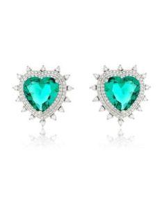 8664dac4dff90 brinco coração com zirconias cristais e banho de rodio semi joias finas  Brincos De Coração,