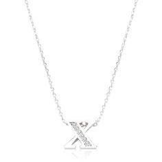Initial X Crystal Pendant
