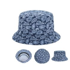e24252b997c Women Men Navy Blue Bucket Hats Paisley Floral Print Outdoor Fishing Cap  Goldtop
