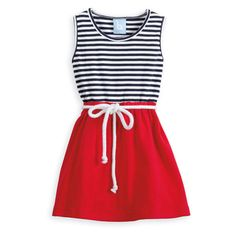 Bayview Beach Dress ($6.95) ❤ liked on Polyvore featuring dresses, vestidos, red dress, striped dresses, red striped dress, beach dresses and rope belt