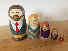 set of 4 dolls Custom family nesting matryoshka dolls