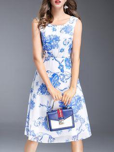 Blue Midi Dress A-line Daytime Casual Floral Dress