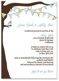 Editable DIY Wedding Invitation Template - Bunting Flag Tree Design     WITH TWO BIRDS Diy Wedding Invitations Templates, Invites, Wedding Backdrops, Wedding Ideas, Santa Fe Springs, Diy Store, Tree Designs, Bunting, Big Day