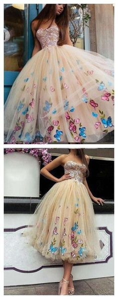 PROM DRESSES FOR TEENS STRAPLESS BUTTERFLY FLORAL TEA LENGTH PROM DRESS/EVENING