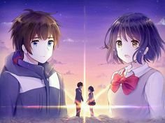 Mitsuha Miyamizu Taki Tachibana Kimi No Na Wa. Anime Love Couple, Cute Anime Couples, Mitsuha And Taki, Kimi No Na Wa Wallpaper, Bakemono No Ko, Your Name Anime, Digimon Adventure Tri, Anime Films, What Is Your Name