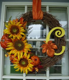 Move sunflowers to bottom left, no pumpkins, no initial and add burlap ribbon. I am making this!