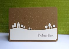 handmade Christmas card ... white die cut country landscape in white .. like how it is placed on the card ... dots in the sky for stars ... luv this clean and simple design ...
