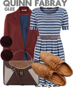 """Inspired by Dianna Agron as Quinn Fabray on Glee. It's almost enough for me to start watching """"Glee"""" maybe without the glasses Glee Fashion, Star Fashion, Fashion Outfits, Womens Fashion, Fandom Fashion, Classy Outfits, Cool Outfits, Quinn Fabray, Character Outfits"""