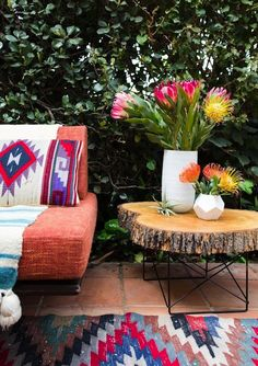 Live Edge Table | Outdoor Flowers | Bohemian Decor | Boho Style | Patio Design