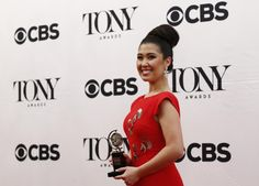 "Ruthie Ann Miles, winner of the award for Best Performance by an Actress in a Featured Role in a Musical for ""The King and I,"" poses backstage. REUTERS/Eduardo Munoz"