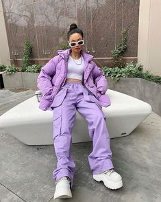 Image in A. clothes collection by Kally on We Heart It Purple Outfits, Swag Outfits, Retro Outfits, Cute Casual Outfits, Stylish Outfits, Vintage Outfits, Tomboy Fashion, Look Fashion, Streetwear Fashion