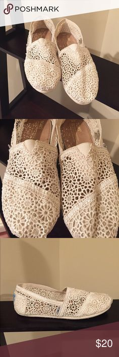 TOMS Crochet Classics Beautiful ivory color crochet Toms classic slip ons. In excellent condition. Worn only once, for approximately 4 hours. So comfortable!                                                           Color: Natural Morocco Crochet Size: 8 Width: B - Medium Toms Shoes Flats & Loafers