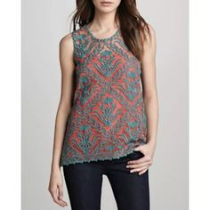 ✨HP✨Sachin + Babi Silk Embroidered Top Brand new, silk embroidered tank top. Size 10. Missing tank liner, priced accordingly. New without tags. Anthropologie Tops