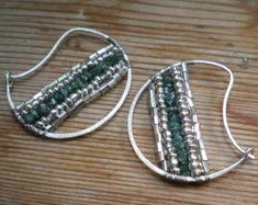 Hoop earrings // Raw diamond earrings // Raw diamond jewelry // Blue diamond // lachlo
