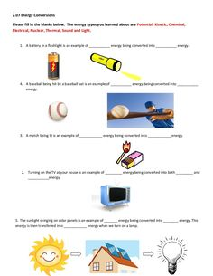 Printables Kinetic And Potential Energy Worksheet For Middle School pinterest the worlds catalog of ideas energy types you learned about are potential kinetic chemical electrical nuclear thermal help worksheet