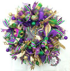 Deco Mesh Mardi Gras Wreath Mardi Gras by SouthernCharmWreaths Mardi Gras Wreath, Mardi Gras Decorations, Mardi Gras Party, Christmas Mesh Wreaths, Deco Mesh Wreaths, Door Wreaths, Wreaths For Sale, How To Make Wreaths, Ribbon Garland