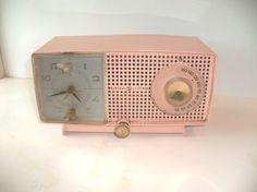 vintage GE pink clock radio