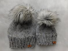 Limited Edition of Matching hats. Mom Son matching hats. Daughter and  Mother hats. Mommy and me hats. Luxury over size pom poms. c91cef422ba