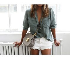 Chloé 'Drew' bag, white shorts and army green blouse