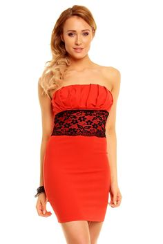Robe bustier pas cher robe bustier courte pas cher robe bustier Rouge TM-5652 - Toufamode