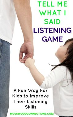 Tell Me What I said Listening Game. A Fun Way For Kids to Improve Their Listening Skills. Auditory Processing Activities, Social Skills Activities, Literacy Skills, Learning Activities, Vocabulary Games, Homeschooling Resources, Preschool Games, Preschool Lessons, Preschool Learning