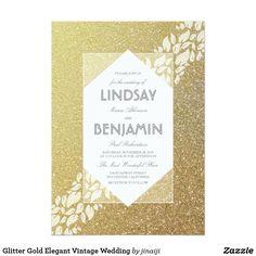 Glitter Gold Elegant Vintage Wedding
