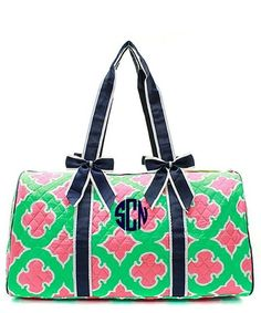 Personalized Coral Moroccan Diamond Large Quilted Duffel Bag - Navy & Mint