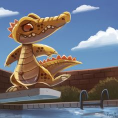 DAY 154. Pool Gator (35 Minutes) by Cryptid-Creations.deviantart.com on @deviantART