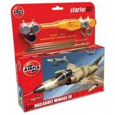 """Dassault Mirage III - of EC """"Vexio"""" Armee de l'Air based at Djibouti, East Africa Set includes Humbrol poly cement, 2 paint brushes and 6 acrylic paints. Ec 3, Airfix Models, East Africa, Painting, Painting Art, Paintings, Painted Canvas"""