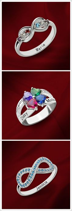 Give Mom a Personalized Mothers Ring. Create your own with your choice of Birthstones and engravings. Show mom how much you really care. Come and find more items at Getnamenecklace .com