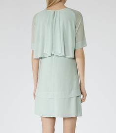 Womens Ice Green Layered Shift Dress - Reiss Corso