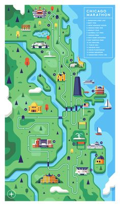 Chicago Marathon map illustration — Matt Anderson