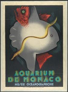 """""""Aquarium of Monaco: Oceanographic Museum"""", Paris, Robert lang, {1919-1945} (Exhibition posters) #Booktower"""