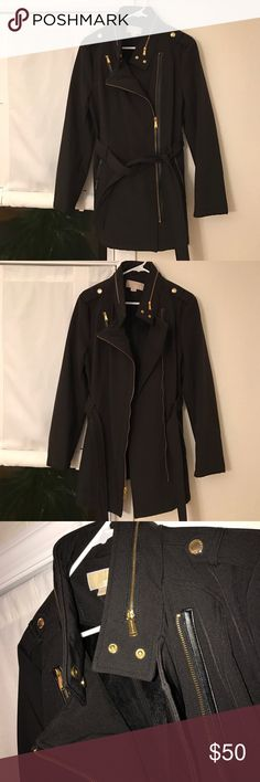 MK RAIN COAT great condition, black with gold detailing, hood folds up and zips into collar, fur lined, perfecto condition KORS Michael Kors Jackets & Coats Trench Coats