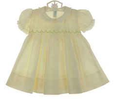 NEW Feltman Brothers Pale Yellow Smocked Dress with Lace Trimmed Collar and Sleeves $65.00