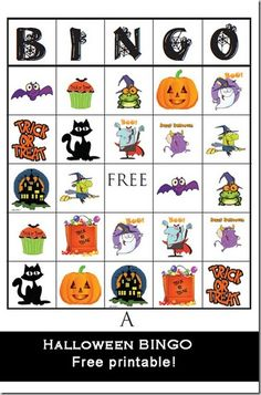 Halloween Printables | Halloween BINGO free printable games game kids party Attempting Aloha