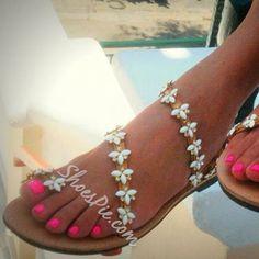 Shoespie Exquisite Beading Flat Sandals